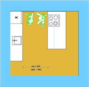Расположение холодильника напротив плиты