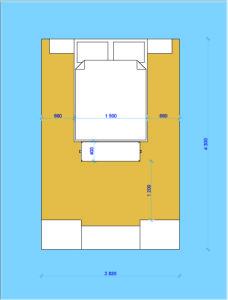 Пример расчета длины и ширины спальни