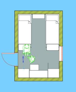 Планировка спальной с двумя кроватями в деревянном доме