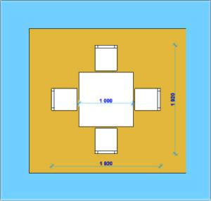 Размеры пространства для обеденного стола и стульев