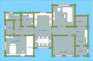 Планировка дома с окнами и дверями