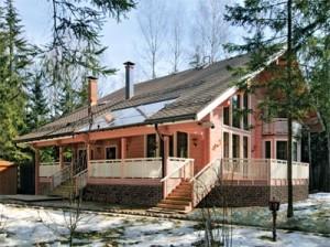 Розовый дом из бруса