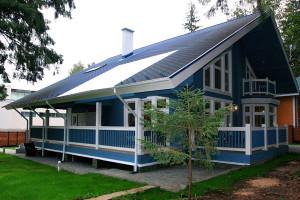 Голубой дом из бруса